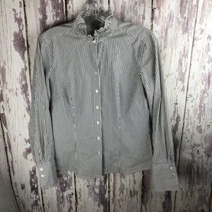 Ann Taylor Ruffle Neck Button Up Stripe Top Sz 6